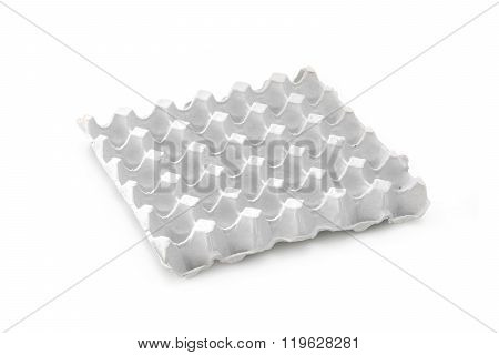 Empty Paper Tray Of Eggs Isolated On White Background