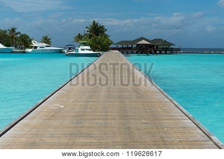 Male, Maldives - February 19, 2016: Maldives beautiful water Villa piles on the water in paradise island