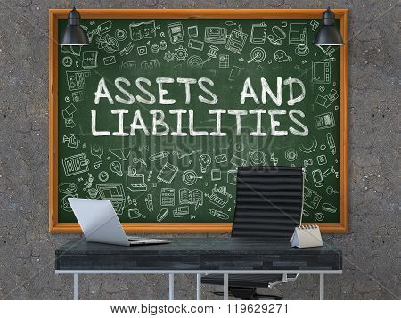 Assets and Liabilities on Chalkboard with Doodle Icons.