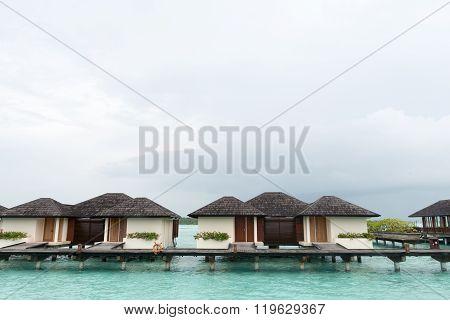 Male, Maldives - February 19, 2016: Maldives beautiful water Villa piles on the water