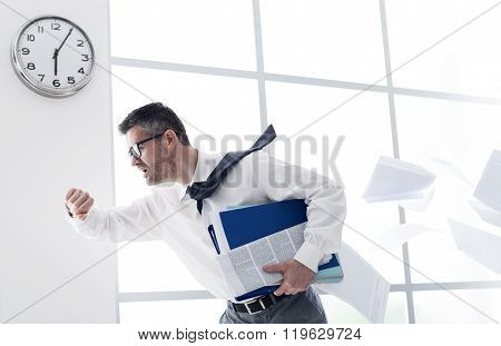 Businessman Late For Work