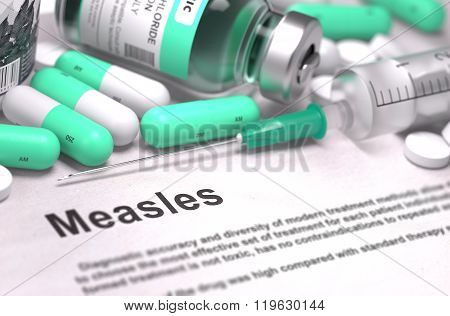 Diagnosis - Measles. Medical Concept with Blurred Background.