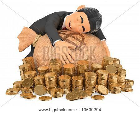 3D Tuxedo Rich Man Hugging His Money