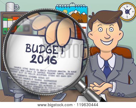 Budget 2016 through Magnifying Glass. Doodle Concept.