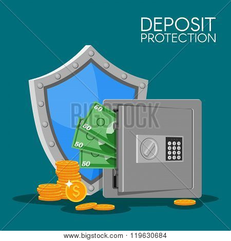 Bank deposit vector illustration flat style. Save your money concept. Dollar banknotes and coins in