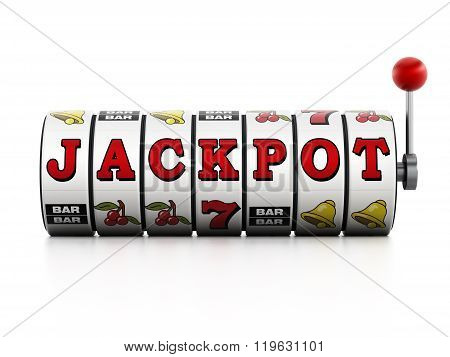 Slot machine showing jackpot word