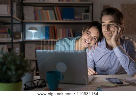 Happy Couple Watching Movies Online