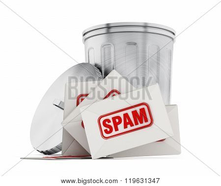 Spam mail and trash can isolated on white background