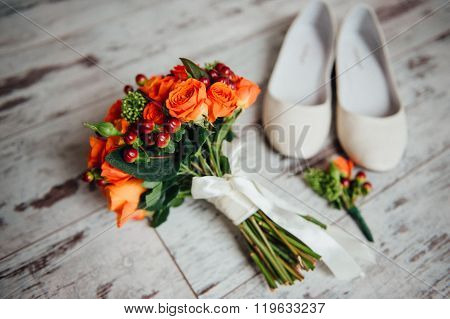 Wedding Bouquet And Shoes, Boutonniere On Board