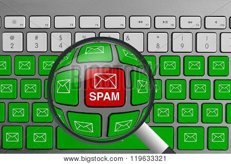 Computer keyboard with red spam email button surrounded with green email buttons and magnifying glas