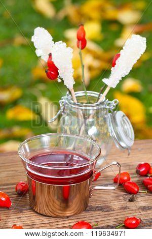 Rose Hip Tea On The Garden Table