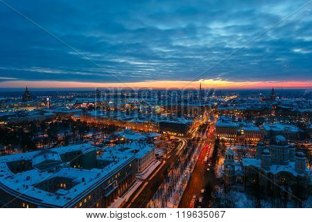 Top View Of The Evening Riga At Sunset