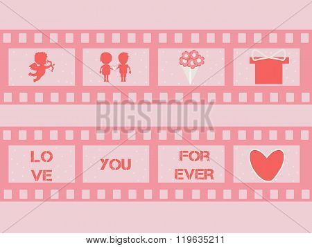 Valentine film strip with cupid,  hearts. vector