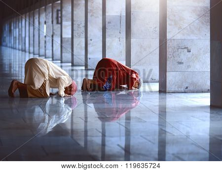 Two Religious Muslim Man Praying Together