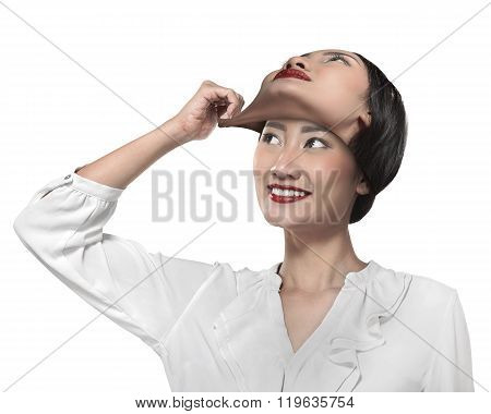 Asian Business Woman Remove His Other Face Mask