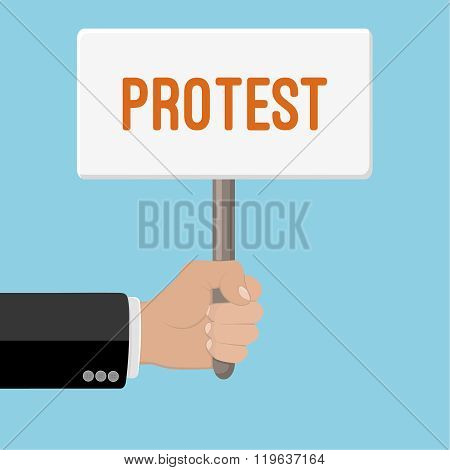 Realistic hand with clenched fist and plate. Flat design. Fist of revolution and protest. Agitation concept. Hand up. Vector design element