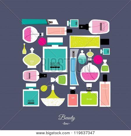 Vector Flat Design Of Fragrance. Vector Flat Design Of Fragrance Collection. Vector Illustration For