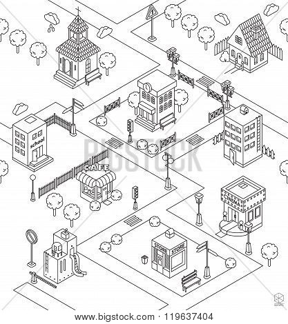 Seamless Pattern With Isometric City. Black And White Vector Illustration With Cinema,  Cottage, Chu