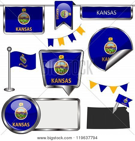 Glossy Icons With Flag Of State Kansas