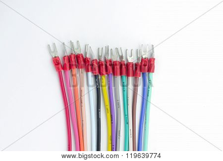 Colorful Wire Bundles On White Background.