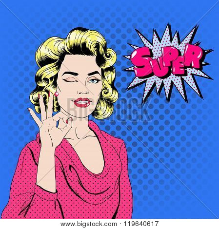 Pop Art Woman Gesturing Okay With Expression Super