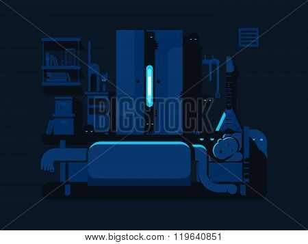 Bedroom mystic flat design