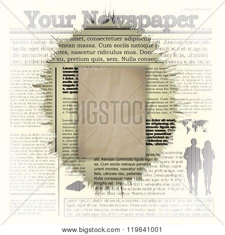 Vector illustration of newspaper background frame. All elements of the individual and combined there is a possibility to change the title of the newspaper and inner text.