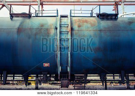 Railroad train of blue tanker cars