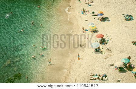Beach holiday concept. Top view of beach. Vintage photo