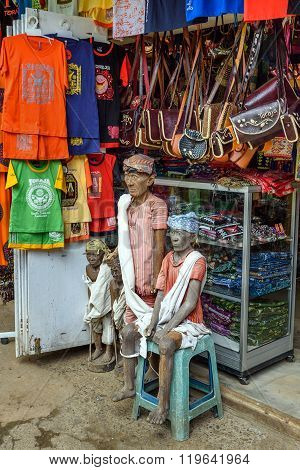 Wooden Statues Of Tau Tau In The Market