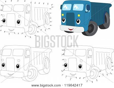 Cartoon Blue Lorry. Coloring Book And Dot To Dot Game For Kids