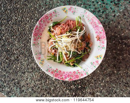 Pink noodle with pork
