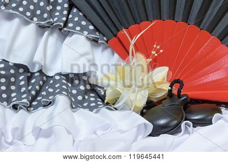 Clothing For Flamenco With Red And Black Fan