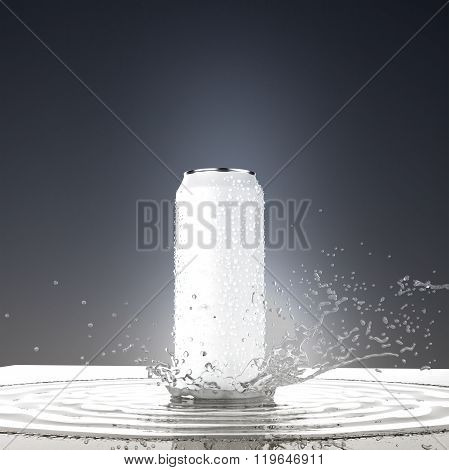 blank white beer can mock-up with water splash  render