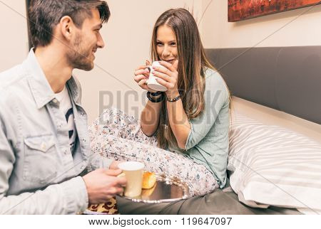 Lovely Boyfriend Bring Some Breakfast To His Girlfriend In The Morning