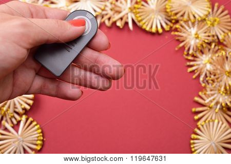 Preparation Of Taking Pictures Of A Christmas Background With Golden Straw Stars On A Red Background