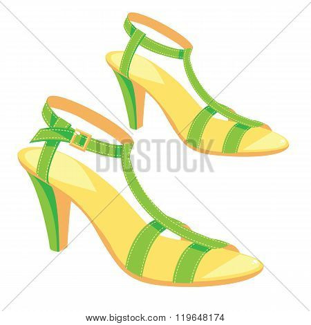 Green sandals with ankle strap