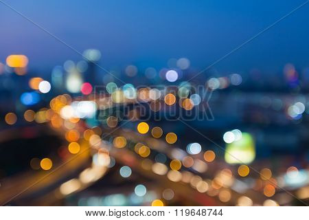 Abstract blurred bokeh cityAbstract blurred bokeh lights during city with  downtown road interchange