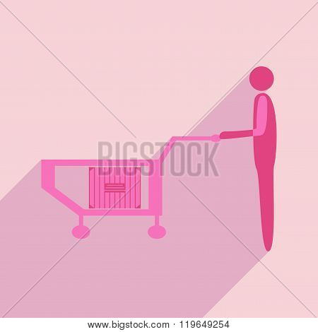 Flat with shadow icon and mobile application box truck loader