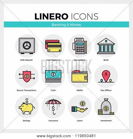 Banking And Money Linero Icons Set