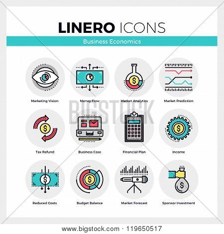 Business Economics Linero Icons Set