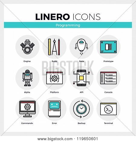 Computer Programming Linero Icons Set