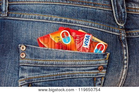 Credit Cards Mastercard And Visa Sticking Out Of The Back Jeans Pocket