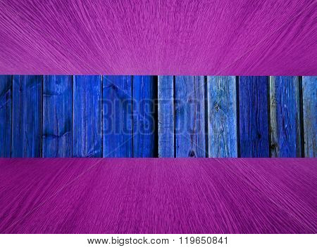 Natural Wood Background, Blue, With Pink Flooring / Ceiling.