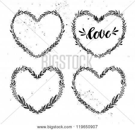 Hand Drawn Vector Illustration. Vintage Decorative Collection Of Laurels And Wreath In Shape Heart.