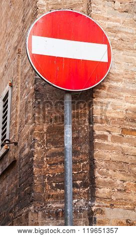Round Red Sign No Entry On Metal Pole