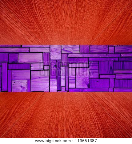 Purple And Red Wooden Background / Backdrop, Wood In Diminishing Perspective.