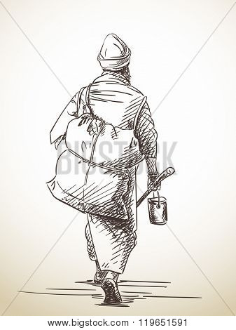 Sketch of walking pilgrim, Hand drawn illustration