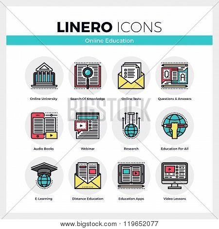 Online Education Linero Icons Set