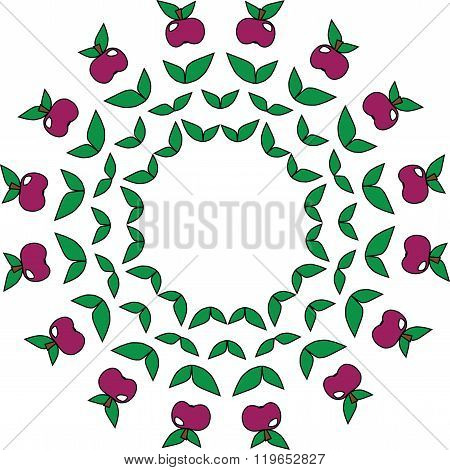 A Circular Simple Pattern From Apples And Leaves